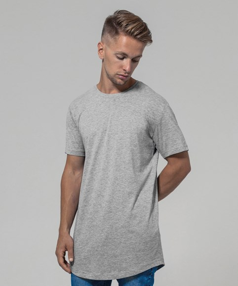 A man modelling a heather grey t-shirt