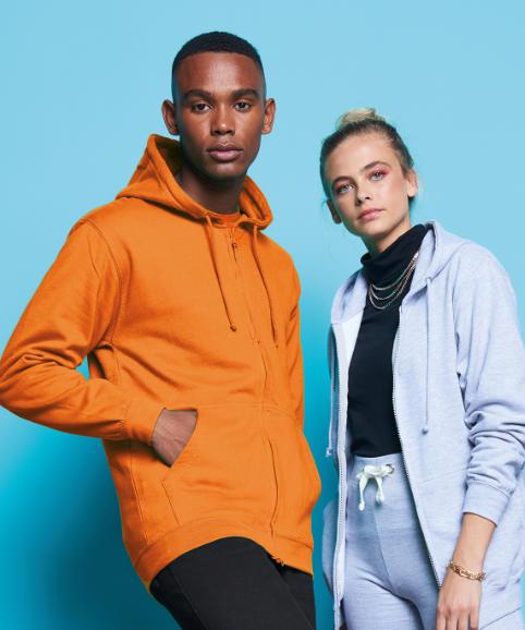Two people modelling some zip hoodies
