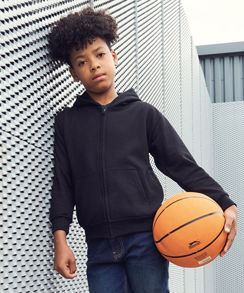 A young boy modelling a zip hoodie