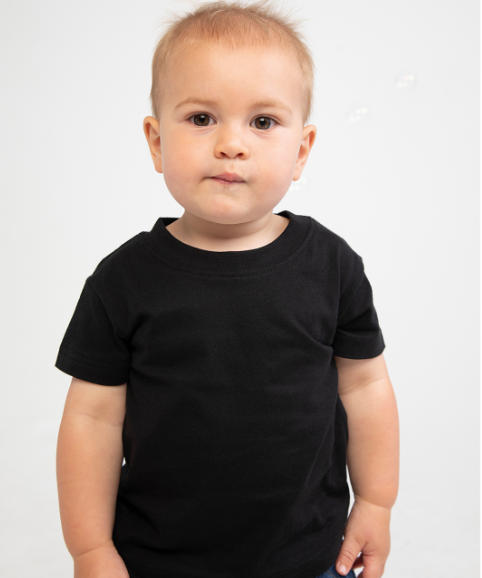 A young boy modelling a t-shirt