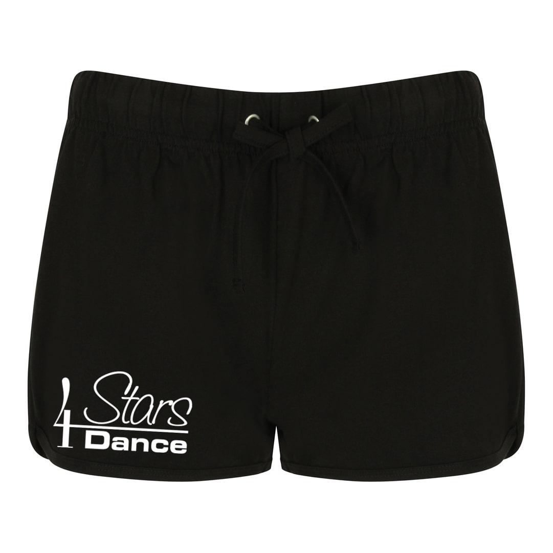 4 Stars Dance black shorts with printed logo