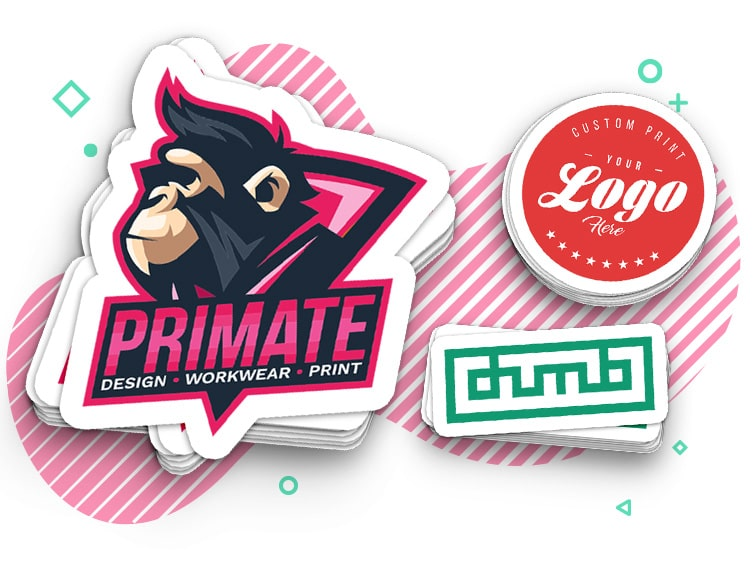 An assortment of primate printing stickers