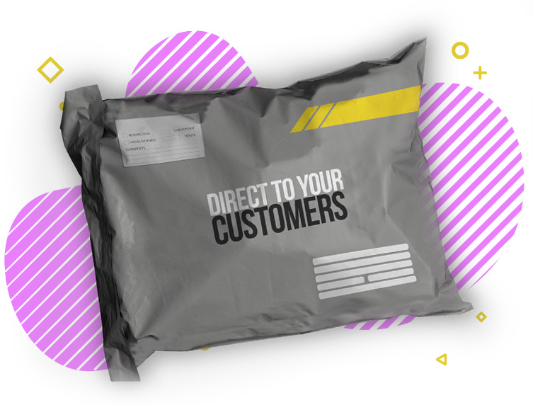 """Postage bag with the words """"Direct To Your Customers"""" printed on the front."""