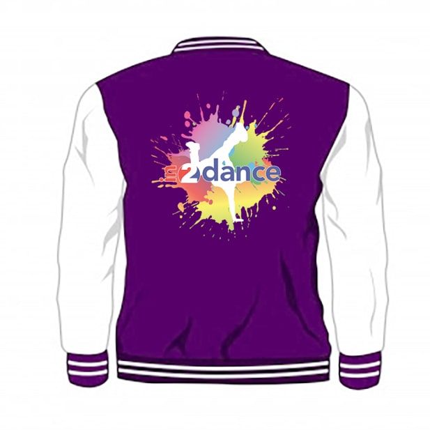 In2Dance purple varsity jacket back view