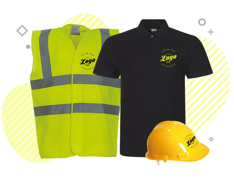 Some work wear presented with primate printing logos