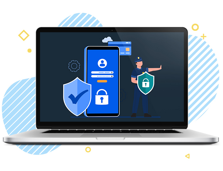 laptop with image of security locks